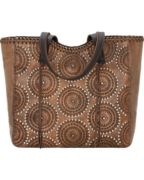 American West Women's Kachina Spirit Large Zip Top Tote, Brown, hi-res