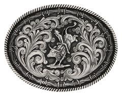 Montana Silversmiths Classic Impressions Bucking Bull Attitude Belt Buckle, , hi-res