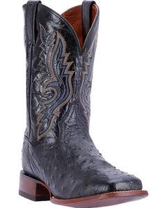 Dan Post Men's Quilled Ostrich Cowboy Boots - Square Toe , Chocolate, hi-res