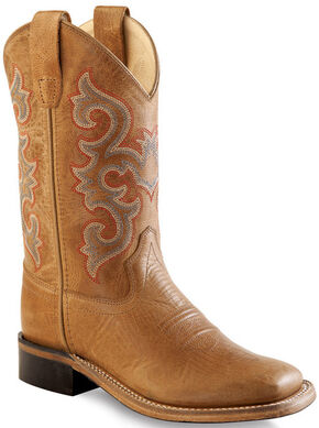 Old West Boys' Tan Western Boots - Square Toe , Tan, hi-res