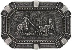 Montana Silversmiths Classic Impressions Team Roper Attitude Belt Buckle, , hi-res