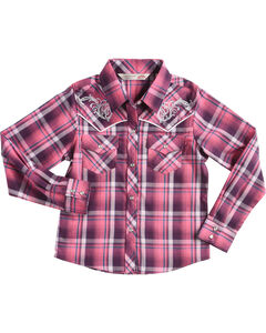 Cumberland Outfitters Girls' Embroidered Plaid Long Sleeve Western Snap Shirt, Purple, hi-res