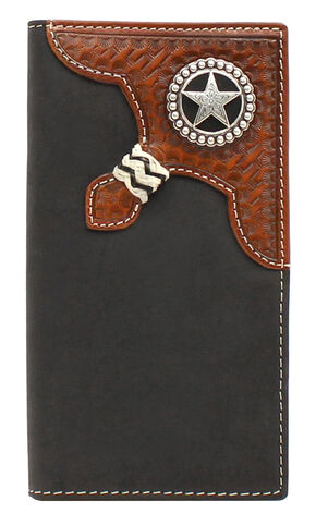 Nocona Star Concho Braid Rodeo Wallet, Black, hi-res