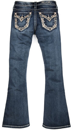 Miss Me Girls' Dark Wash Fancy Flap Pocket Bootcut Jeans, , hi-res