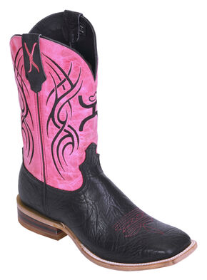 Hooey by Twisted X Neon Pink Cowboy Boots - Wide Square Toe, Black, hi-res