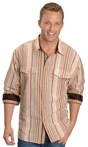 Scully Tan Seersucker Striped Western Shirt, Tan, hi-res