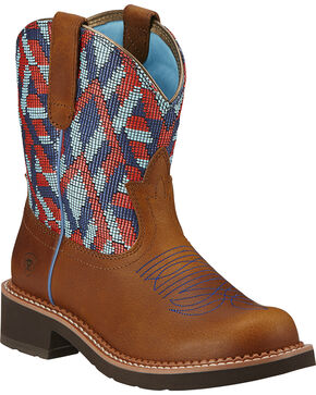Ariat Fatbaby Heritage Vivid Cowgirl Boots - Round Toe, Tan, hi-res