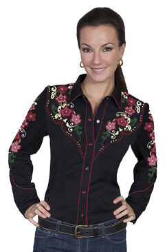 Scully Women's Floral Embroidered Western Blouse, , hi-res