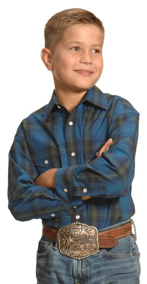 Roughstock by Panhandle Slim Boys' Blue Plaid Kentsdale Western Shirt , Plaid, hi-res