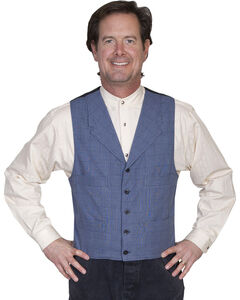 WahMaker Old West by Scully Men's Cotton Plaid Vest, , hi-res
