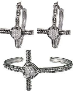Montana Silversmiths Faith's Heart Cross Bracelet Jewelry Set, , hi-res