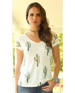 Wrangler Women's Short Sleeve Cut Out Back Cactus Print Top, , hi-res