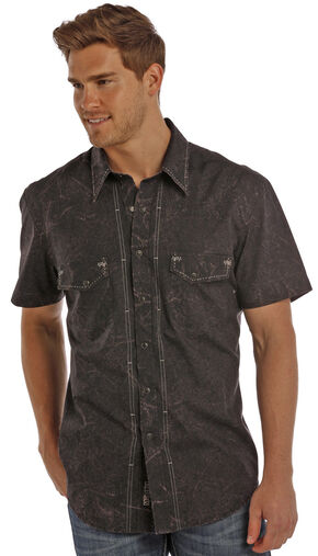 Rock & Roll Cowboy Men's Charcoal Grey Paisley Print Shirt , Charcoal Grey, hi-res