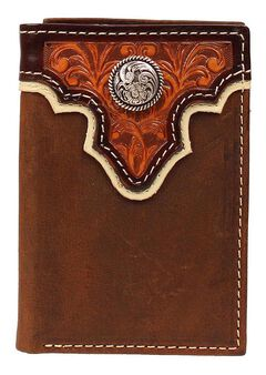 Ariat Tan Tooled Overlay Concho Tri-Fold Wallet, , hi-res
