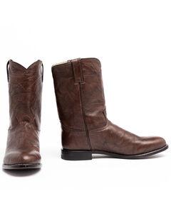 Justin Classics Deerlite Roper Cowboy Boots - Round Toe, Dark Brown, hi-res