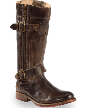 Bed Stu Women's Brown Gogo Lug Strap Boots - Round Toe , Dark Brown, hi-res