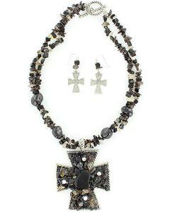Blazin Roxx Chunky Stone Necklace & Earrings Set, , hi-res