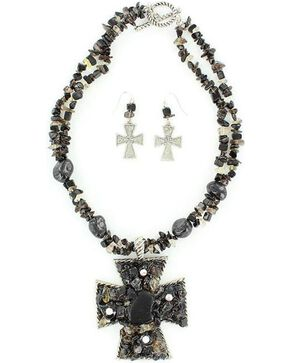 Blazin Roxx Chunky Stone Necklace & Earrings Set, Black, hi-res