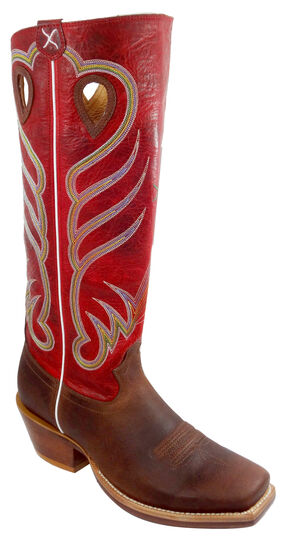 """Twisted X Red 17"""" Buckaroo Cowboy Boots - Square Toe , Saddle Brown, hi-res"""