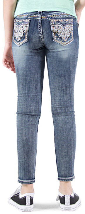 Grace in LA Girls' Embellished Faux Flap Skinny Jeans , Indigo, hi-res