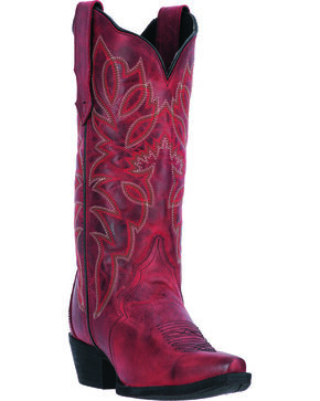 Laredo Red Leeza Cowgirl Boots - Snip Toe, Red, hi-res