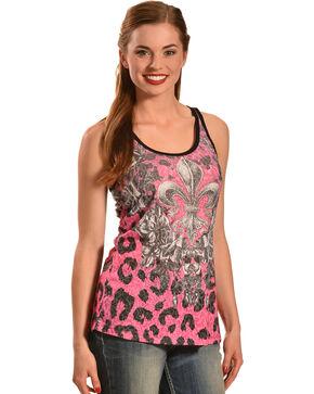 Liberty Wear Women's Leopard Fleur de Lis Tank Top, Pink, hi-res