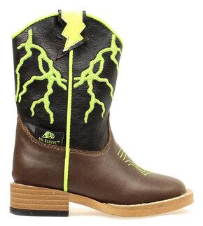 Double Barrel Boys' Ace Lightning Bolt Zip Boot - Square Toe, Brown, hi-res