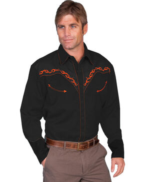 Scully Men's Horse Embroidered Western Shirt, Rust, hi-res