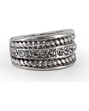 Shyanne Women's Twisted Rope Rhinestone Ring, Silver, hi-res