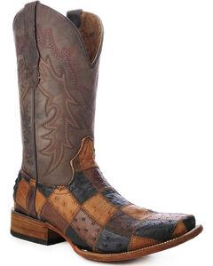 Circle G Ostrich Patchwork Cowboy Boots - Square Toe, , hi-res