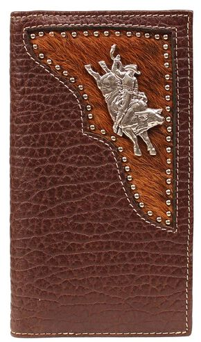 PBR Hair-on Hide Inlay Bull Rider Concho Rodeo Wallet, Brown, hi-res