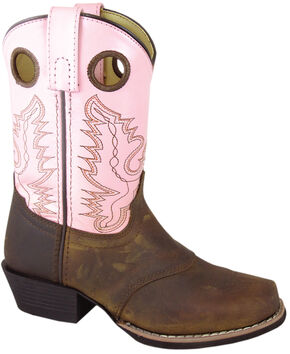 Smoky Mountain Youth Girls' Sedona Pink Western Boots - Square Toe, Brown, hi-res