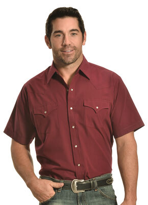 Ely Cattleman Men's Burgundy Short Sleeve Snap Shirt, Burgundy, hi-res