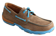 Twisted X  Men's Brown and Neon Blue Driving Mocs, , hi-res