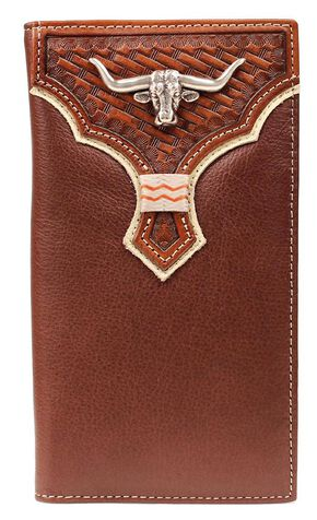 Nocona Basketweave Overlay Longhorn Concho Rodeo Wallet, Brown, hi-res