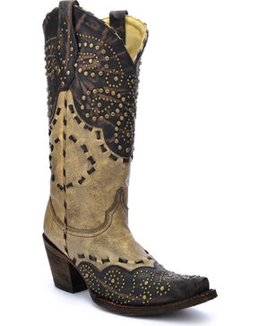Corral Women's Studded Pattern Cowgirl Boots - Snip Toe, Brown, hi-res