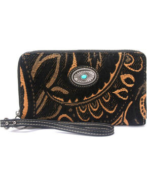 Montana West Western Aztec Collection Black Wallet, Black, hi-res