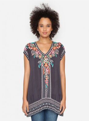 Johnny Was Women's Grey Fog Letty Tunic , Grey, hi-res