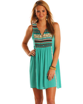 Rock & Roll Cowgirl Women's Multi Stripe Sleeveless Dress, Teal, hi-res
