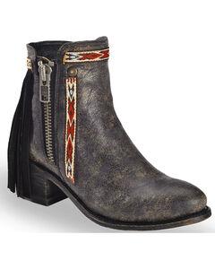 Corral Women's Fringe Ankle Short Boots - Medium Toe , , hi-res