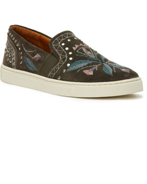 Frye Women's Grey Ivy Embroidered Slip-On Shoes , Grey, hi-res