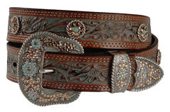 Nocona Concho Accent Painted Leather Western Belt, , hi-res