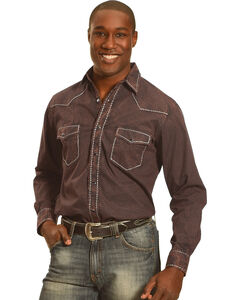Crazy Cowboy Men's Black Heavy Stitch Trim Long Sleeve Shirt , , hi-res