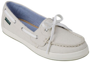 Eastland Women's Bone Skip Canvas Boat Shoe Slip-Ons , Ivory, hi-res