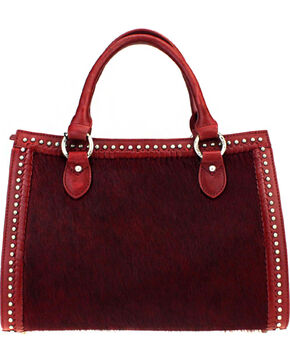 Montana West Delila Satchel 100% Genuine Leather Hair-On Hide Collection in Burgundy, Burgundy, hi-res