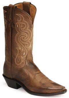 Tony Lama Stallion Leather Americana Cowboy Boots, Brown, hi-res