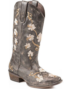 Roper Women's Floral Embroidery Cowgirl Boots - Snip Toe, Brown, hi-res