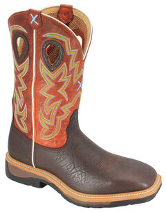 Twisted X Orange Lite Cowboy Work Boots - Steel Toe, , hi-res