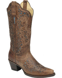 Corral Turquoise Inlay Goat Cowgirl Boots - Snip Toe, , hi-res