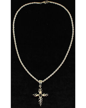 Twister Men's Black Stone Cross Necklace , Silver, hi-res